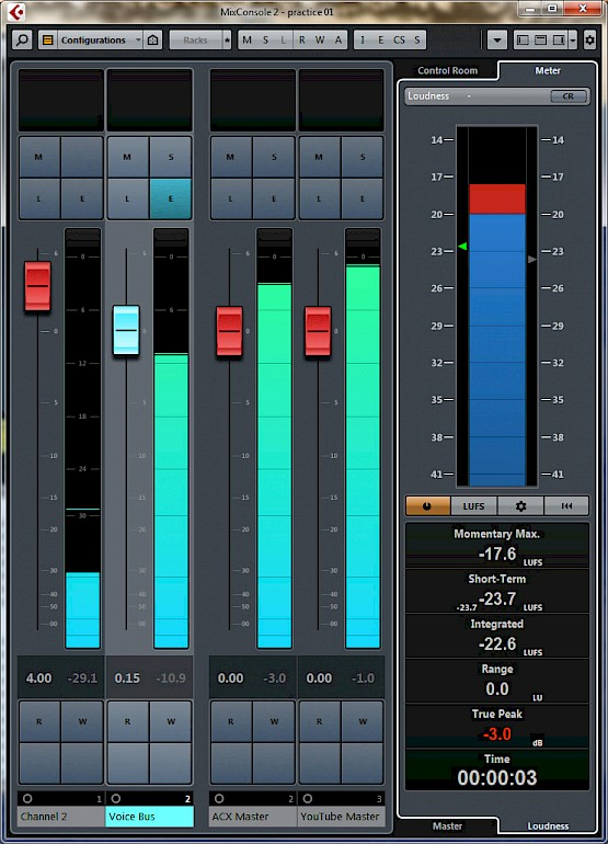 Cubase mixer with loudness meter
